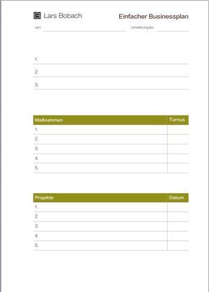 Vordruck Businessplan, Einfach Planen mit einem Businessplan
