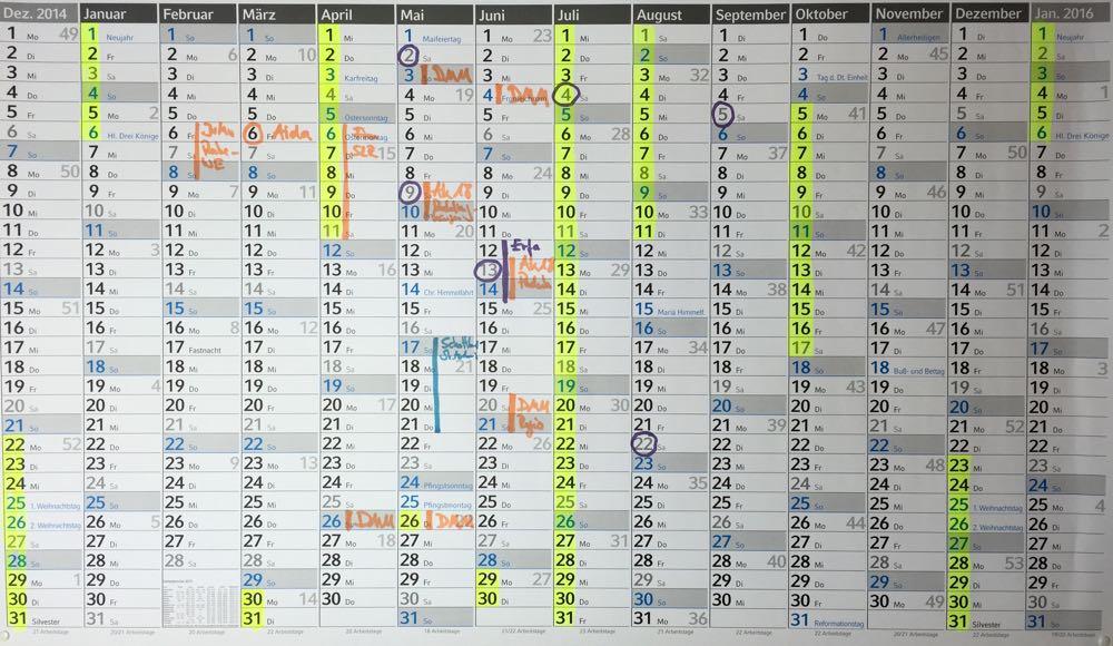 Besser planen mit dem Jahreskalender