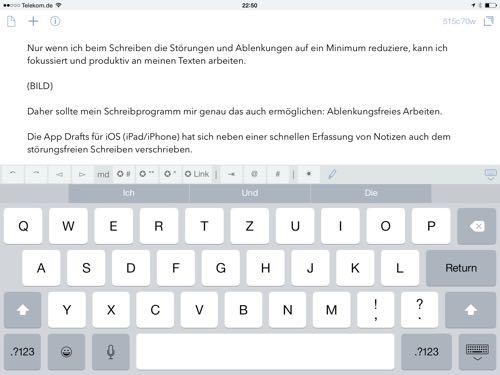 Markdown mit Drafts auf dem iPad schreiben
