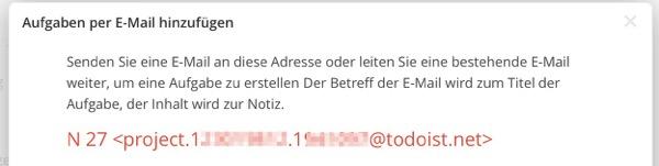 Wo finde ich die Email Adresse bei ToDoist