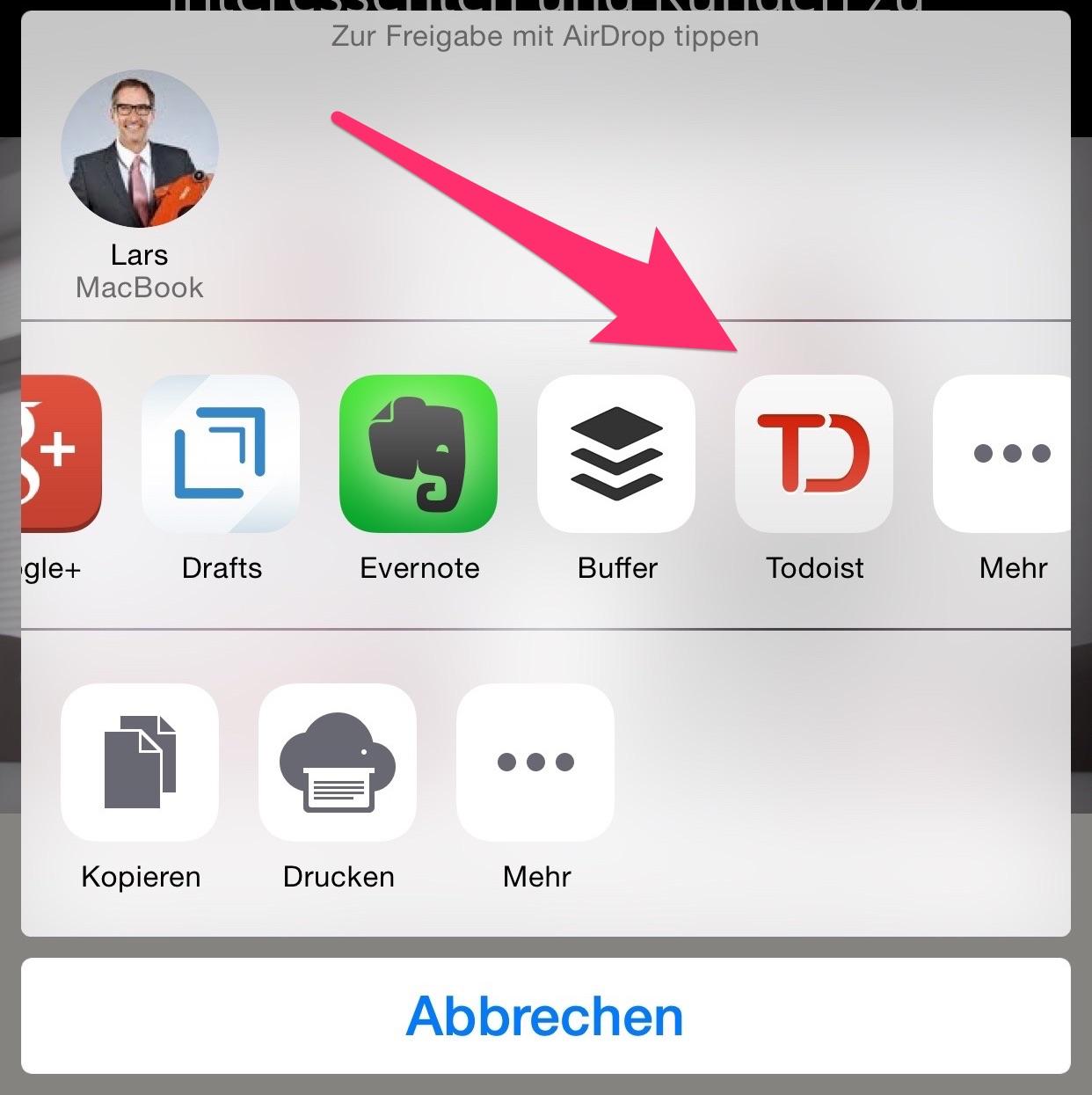 ToDoist auf dem iPhone