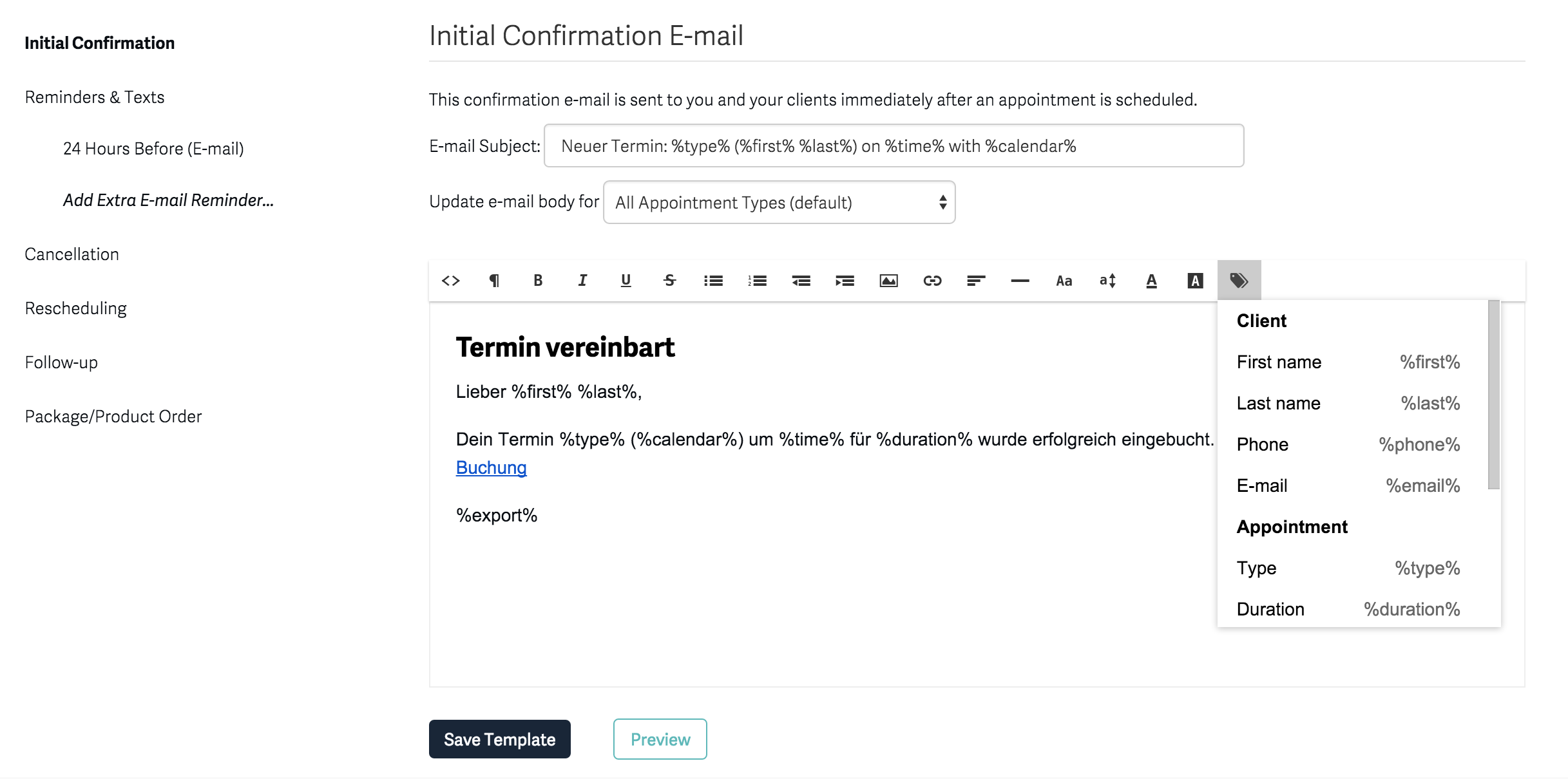 Terminvereinbarung auf homepage / website