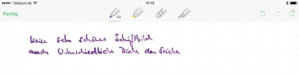 Handschrift in der Evernote App