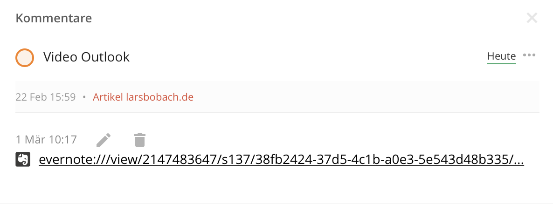 Eine Evernote Notiz in Todoist verknüpfen