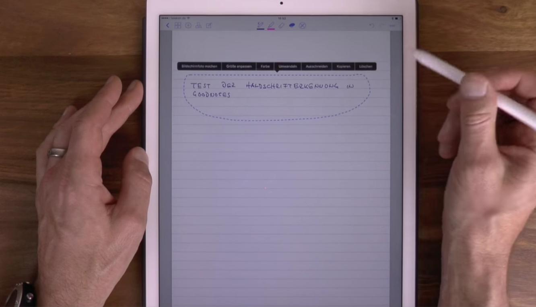Test der Handsxchrifterkennung von GoodNotes