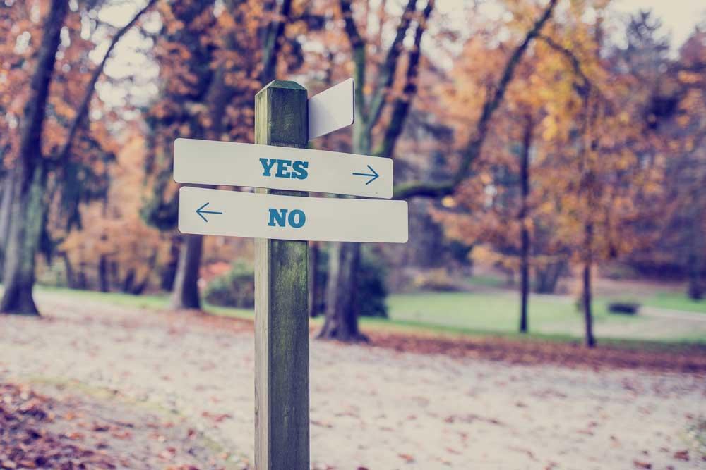 Ja oder Nein Schild