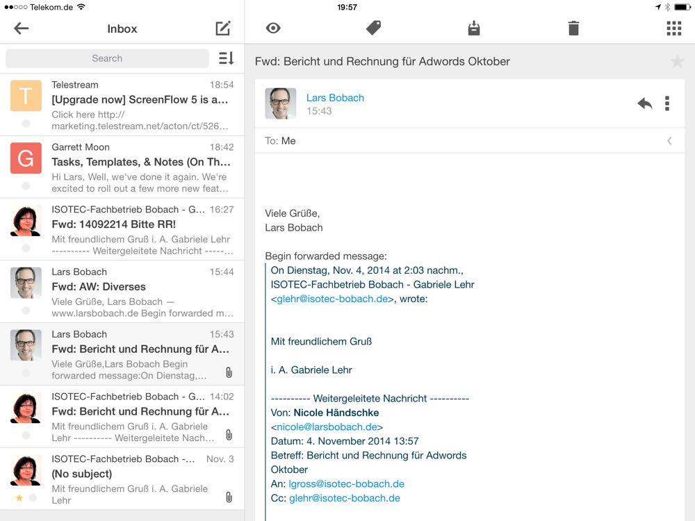 Vergleich der Apps Mailbox und Boxer