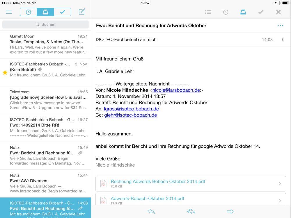 Vergleich der Email Apps für das iPAd