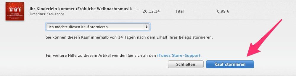 Apples iTunes Store Widerrufsrecht