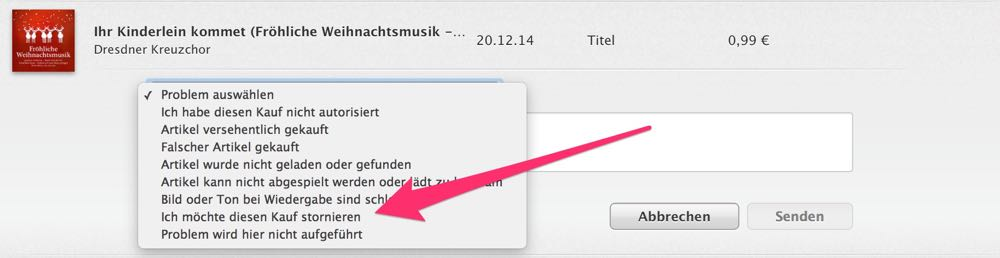 iTunes Filme, Musik Apps stornieren