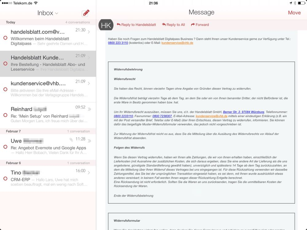 Alternative Email App für iPad / iPhone