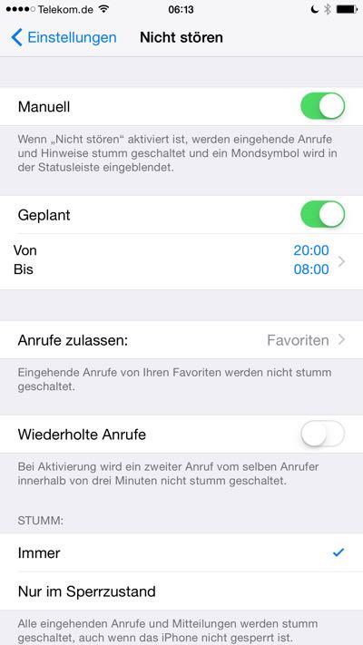 Einstellungen von nicht stören auf dem iPhone