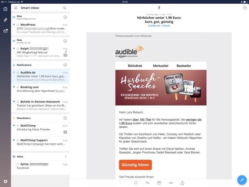 test von email apps fürs iphone