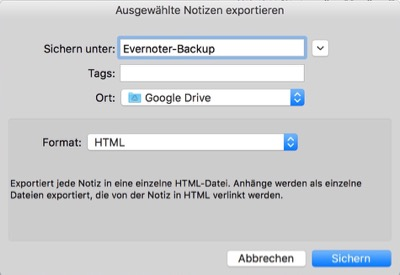 wir funktioniert ein Evernote-Backup