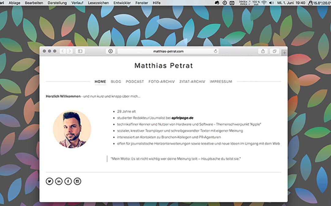 Screenshot vom Mac - Matthias Petrat
