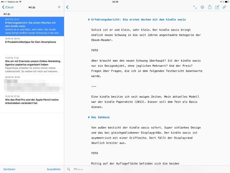 Ulysses Schreib-App fürs iPad