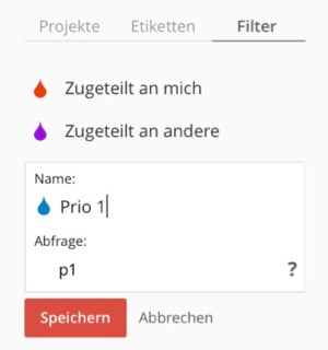 Filter nach eisenhower Matrix Priorität in Todoist
