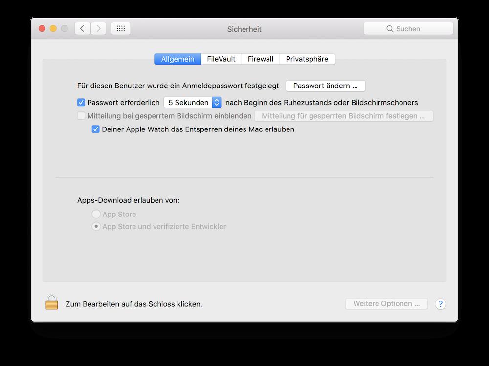 Deiner Apple Watch das Entsperren deines Mac erlauben