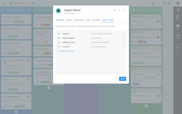 Screenshot custom fields in der business version