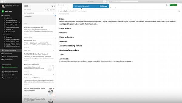 Screenshot 03 Evernote Vorlagen