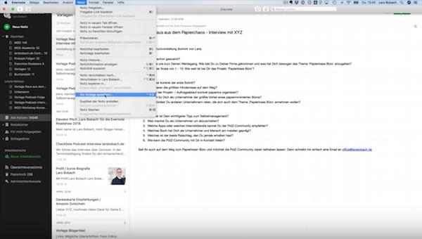 Screenshot 04 Evernote Vorlagen