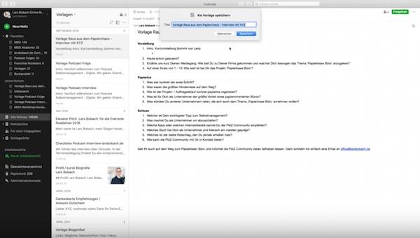 Screenshot 05 Evernote Vorlagen