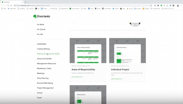 Screenshot 08 Evernote Vorlagen