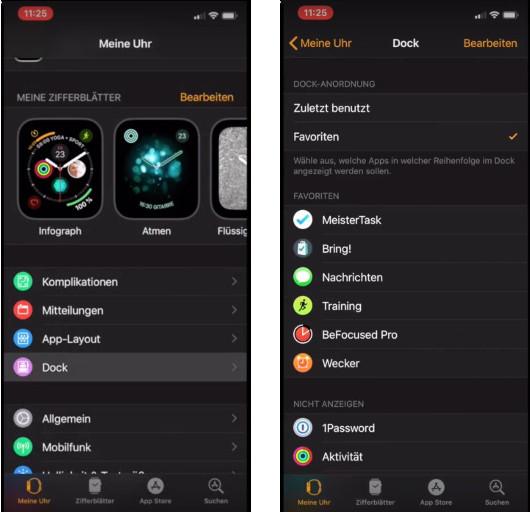 Screenshots iPhone Watch-App Favoriten