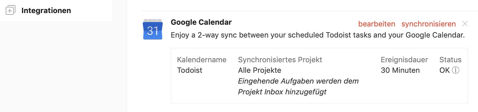 TD-Sync mit Google Kalender