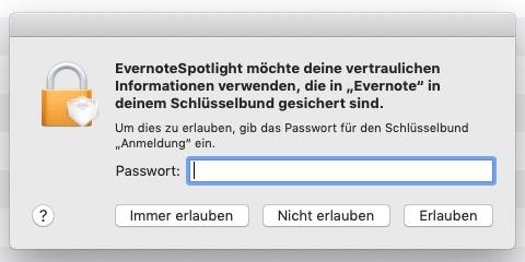 Screenshot zur Frage Evernote und Spotlight