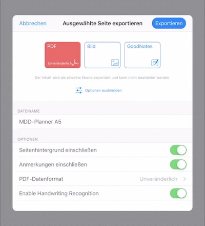 PDF Export in GoodNotes