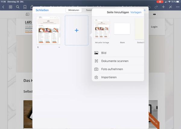Screenshot Scan in GoodNotes-Dokument einfügen